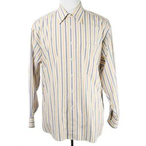 DIOR Cream Yellow Blue Stripe Dress Shirt 16 32/33